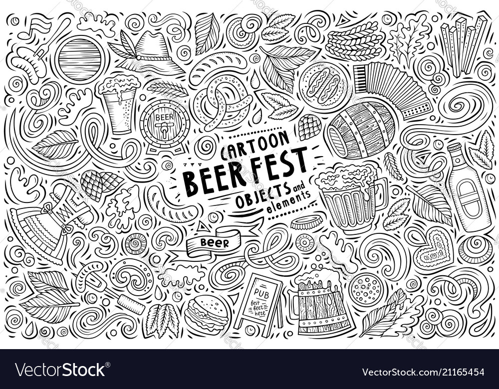 Doodle cartoon set beer fest objects