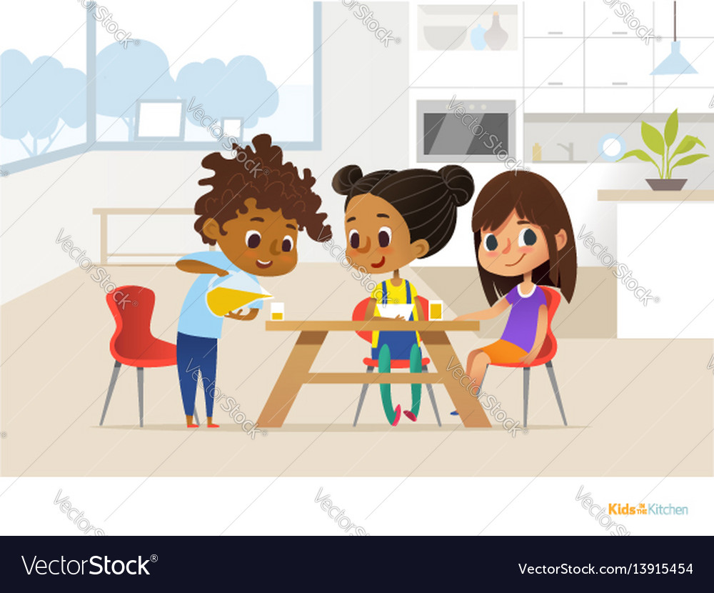 Multiracial children preparing lunch by themselves