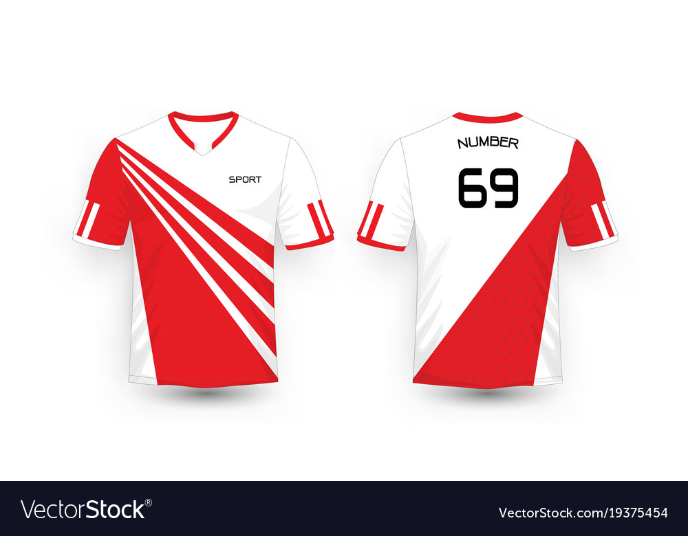 8721ab97e Red and white stripe pattern sport football kits Vector Image