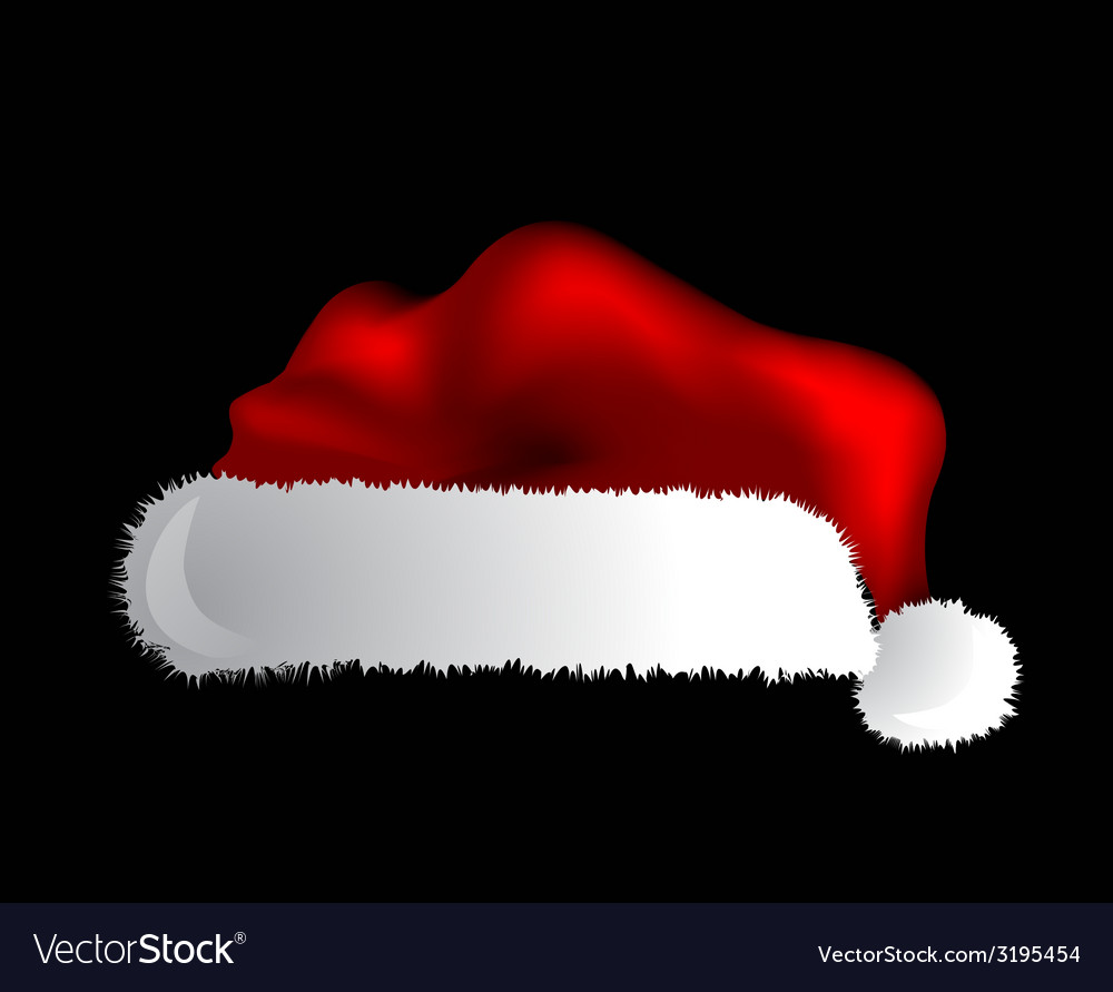 ee5d39dcd6b78 Santa Claus cap isolated over black background Vector Image