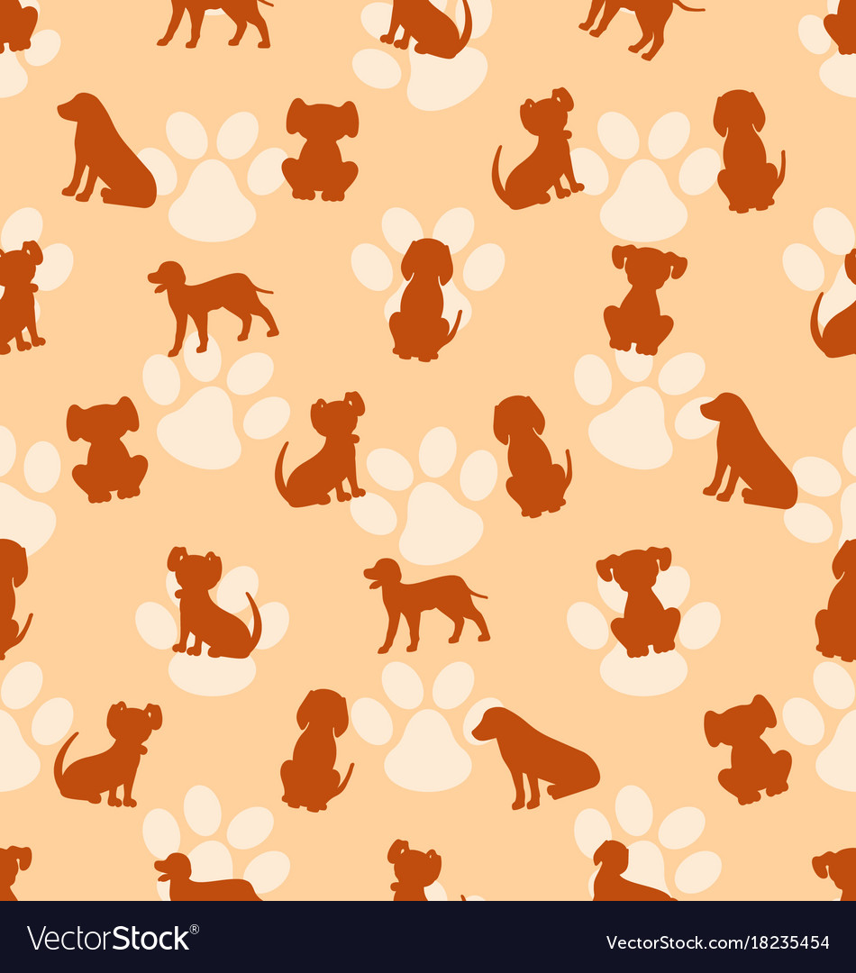 Seamless pattern with different breeds of dogs