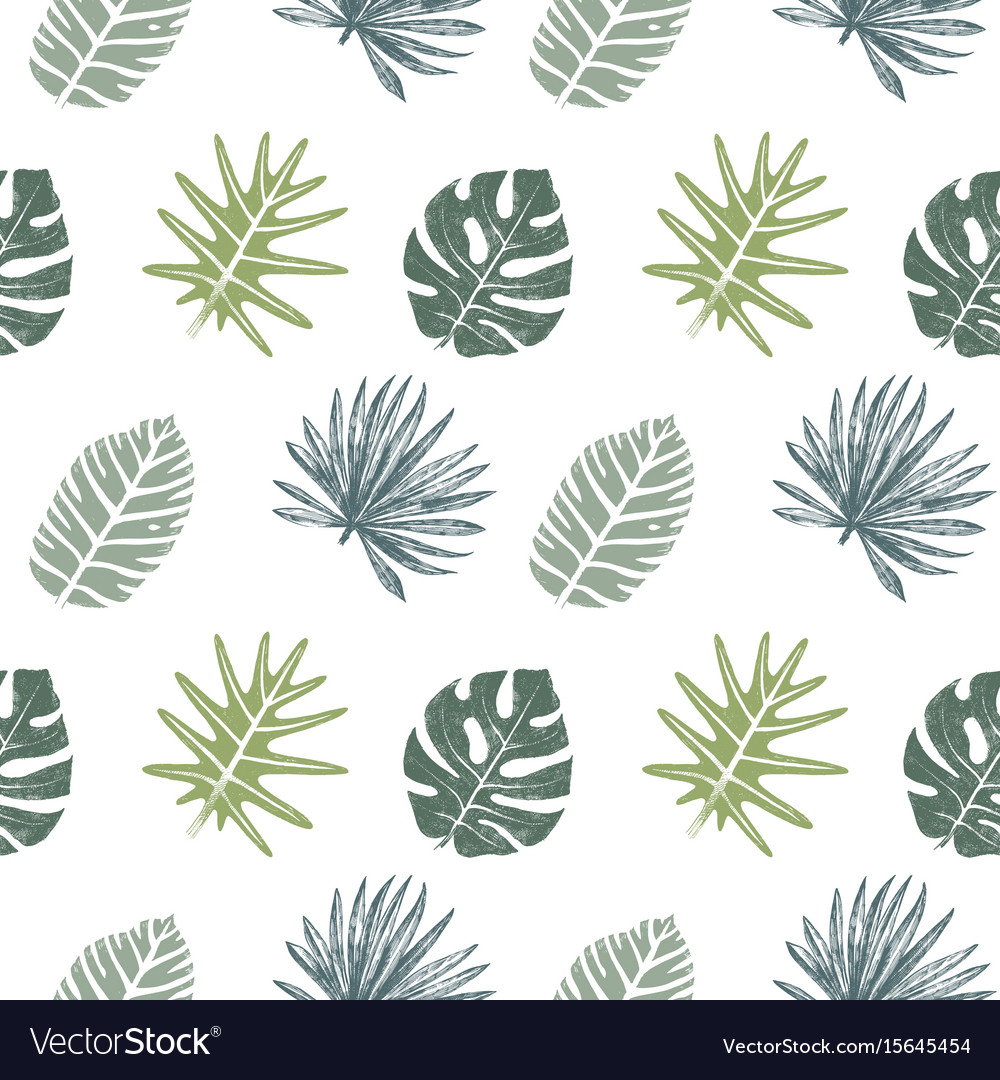 Seamless pattern with hand drawn tropical leaves