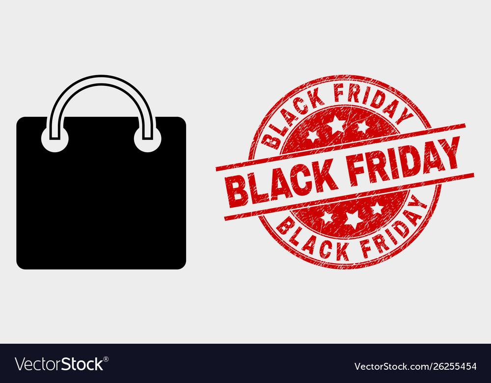 Shopping bag icon and grunge black friday