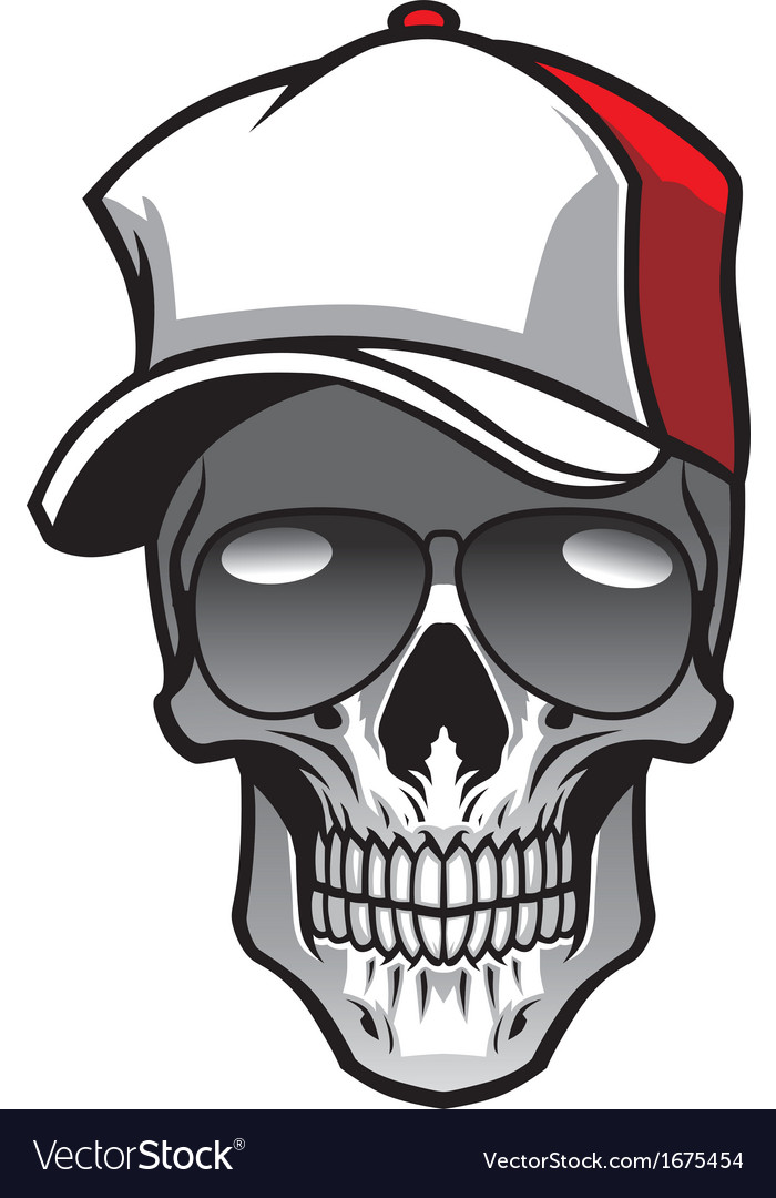 Skull wearing hat and sunglasses