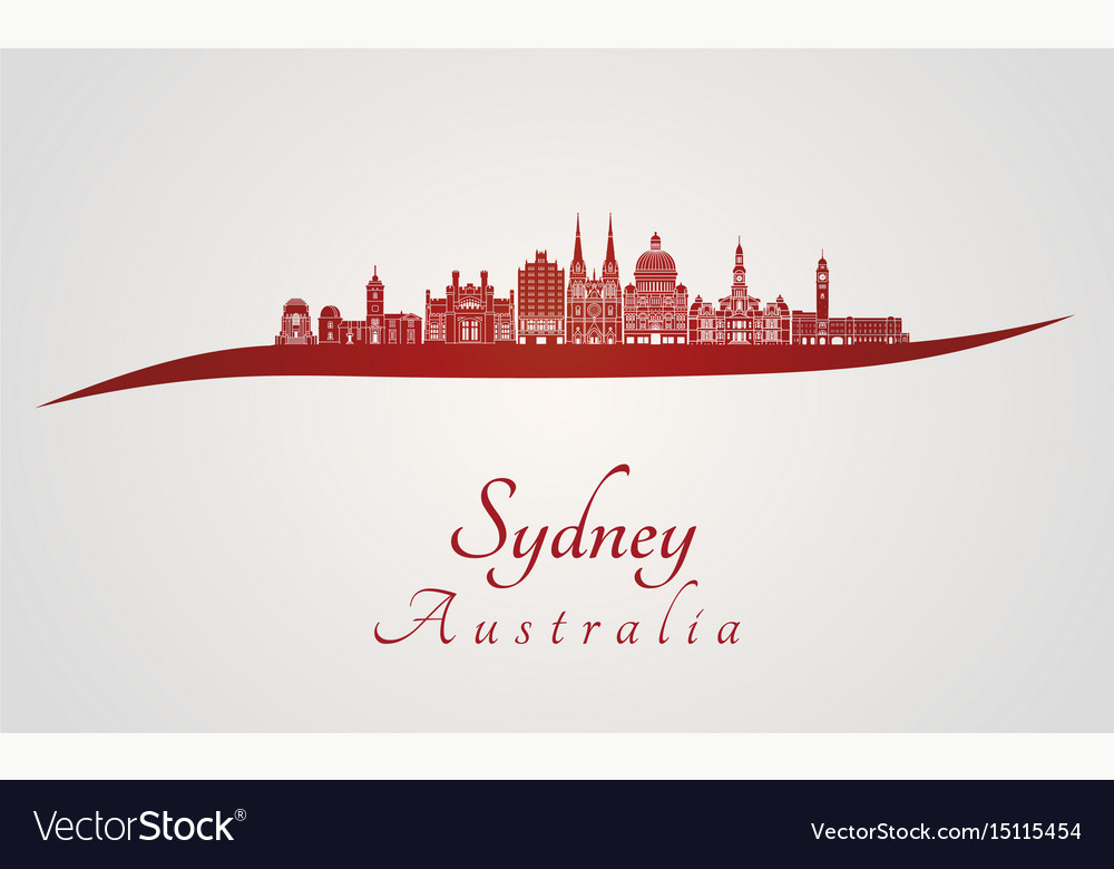 Sydney v3 skyline in red vector image