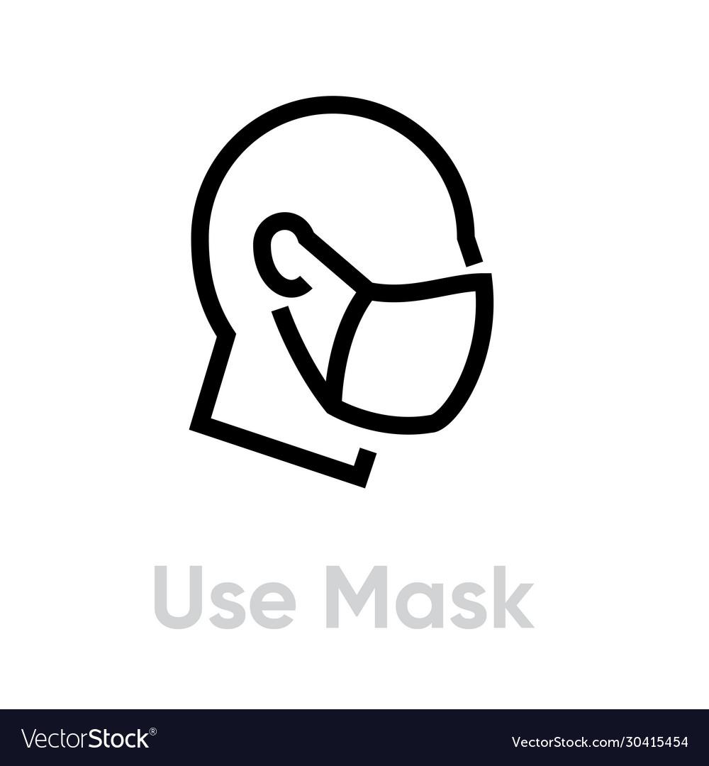 Use mask protection measures icon editable line