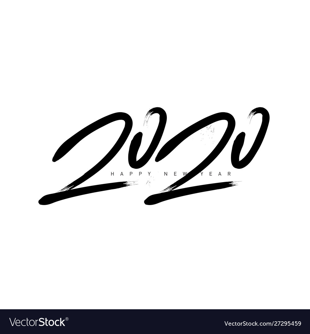 2020 greeting card happy new year black and white