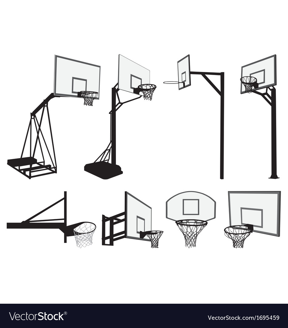 basketball hoop silhouettes royalty free vector image rh vectorstock com lifetime basketball hoop diagram spalding basketball hoop diagram