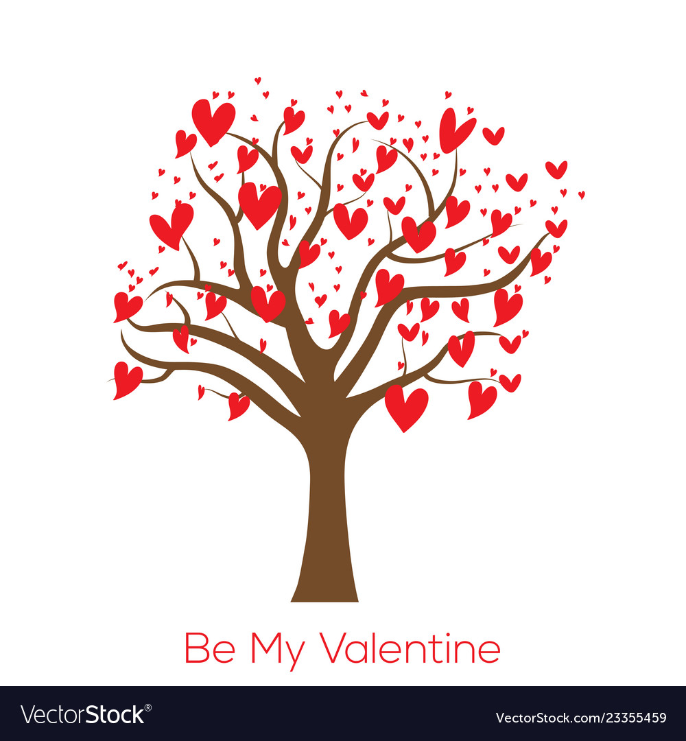 Be my valentine card with tree and red hearts