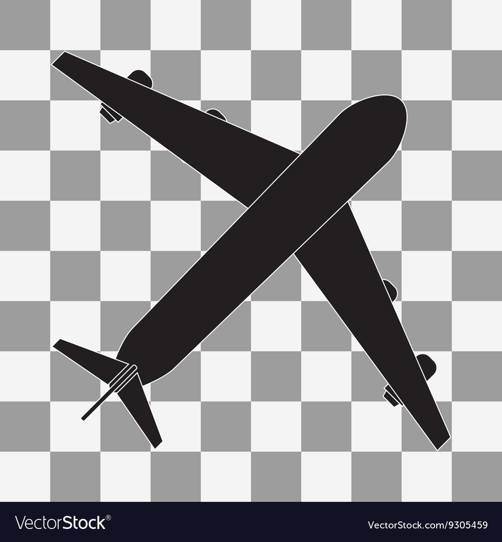 Black Plane icon on transparent vector image