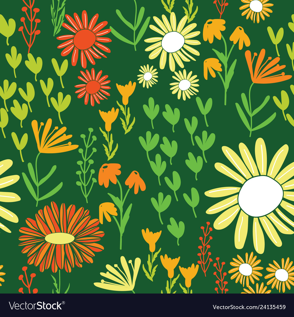 Colorful daisy world garden repeating seamless