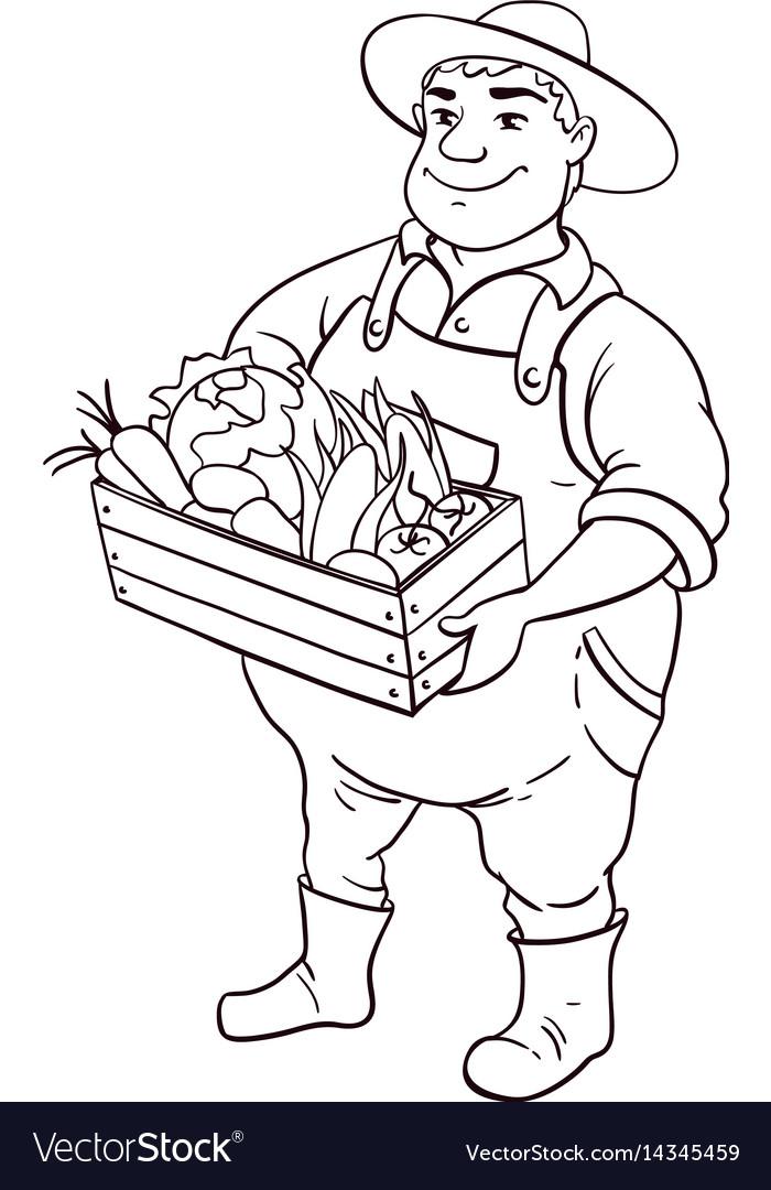 Farmer Lineart Character Cartoon Cute Fat Vector Image