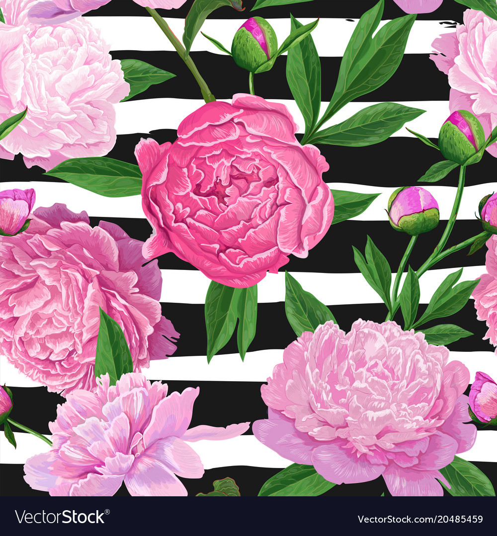 Floral seamless pattern with pink peony flowers vector image mightylinksfo