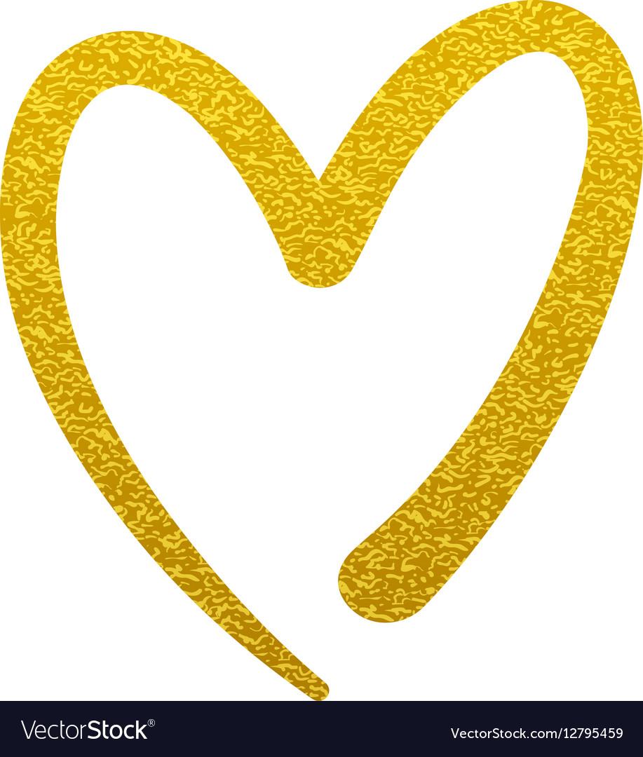 Gold Paint Heart Love Sign Symbol Logo Royalty Free Vector