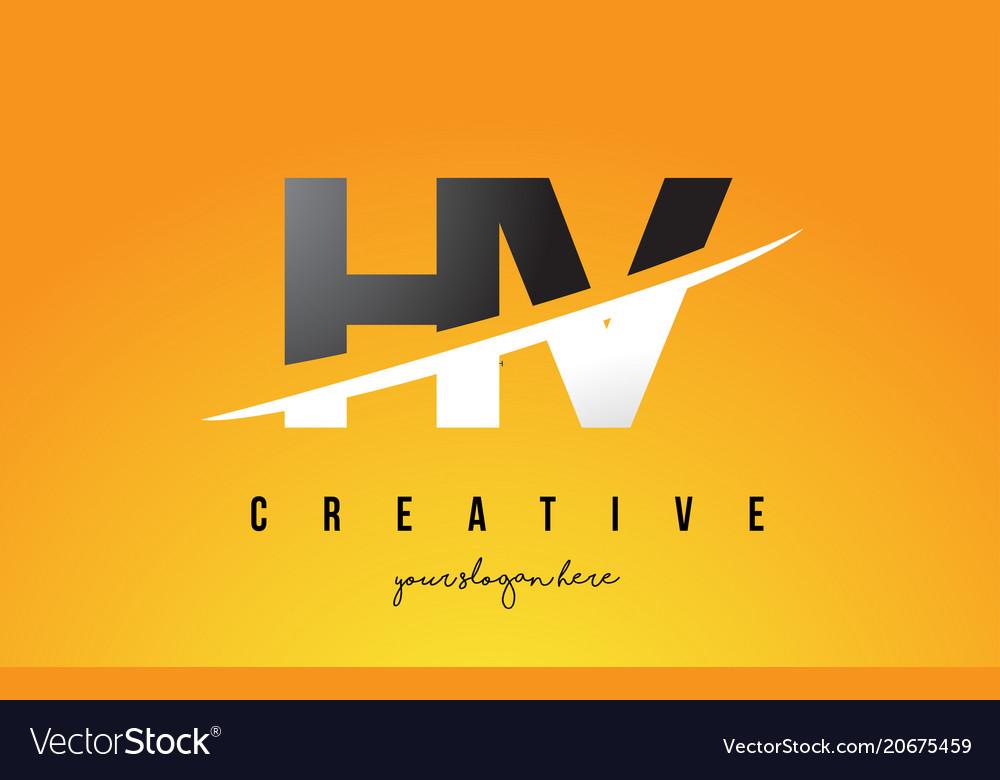 Hv H V Letter Modern Logo Design With Yellow Vector Image