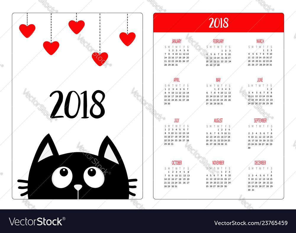 Pocket calendar 2018 year week starts sunday