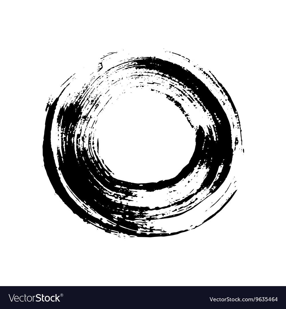 Black and white grunge circle like a brush stroke vector image