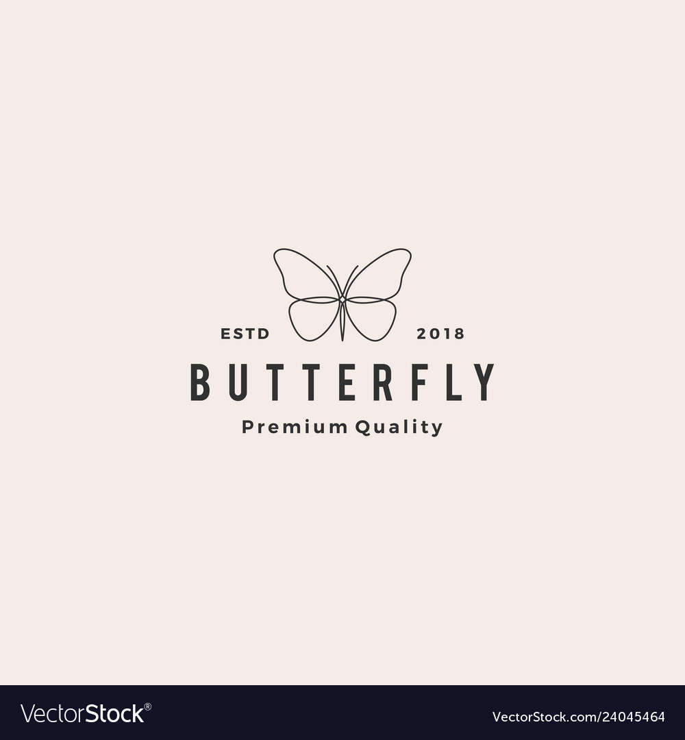Butterfly logo line outline monoline icon