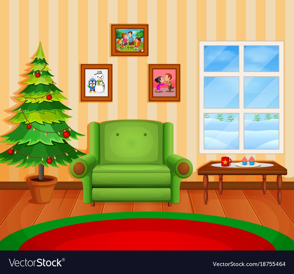 Cartoon Living Room: Christmas Living Room With A Tree And Fireplace Vector Image