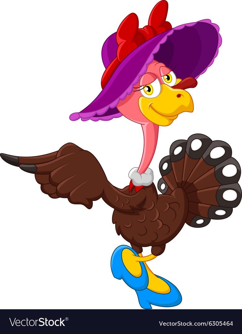 Cute turkey cartoon wearing hat
