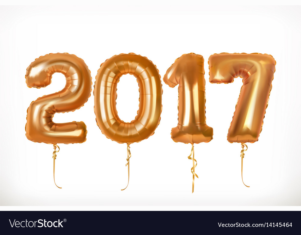 Golden toy balloons happy new year 2017 3d icon