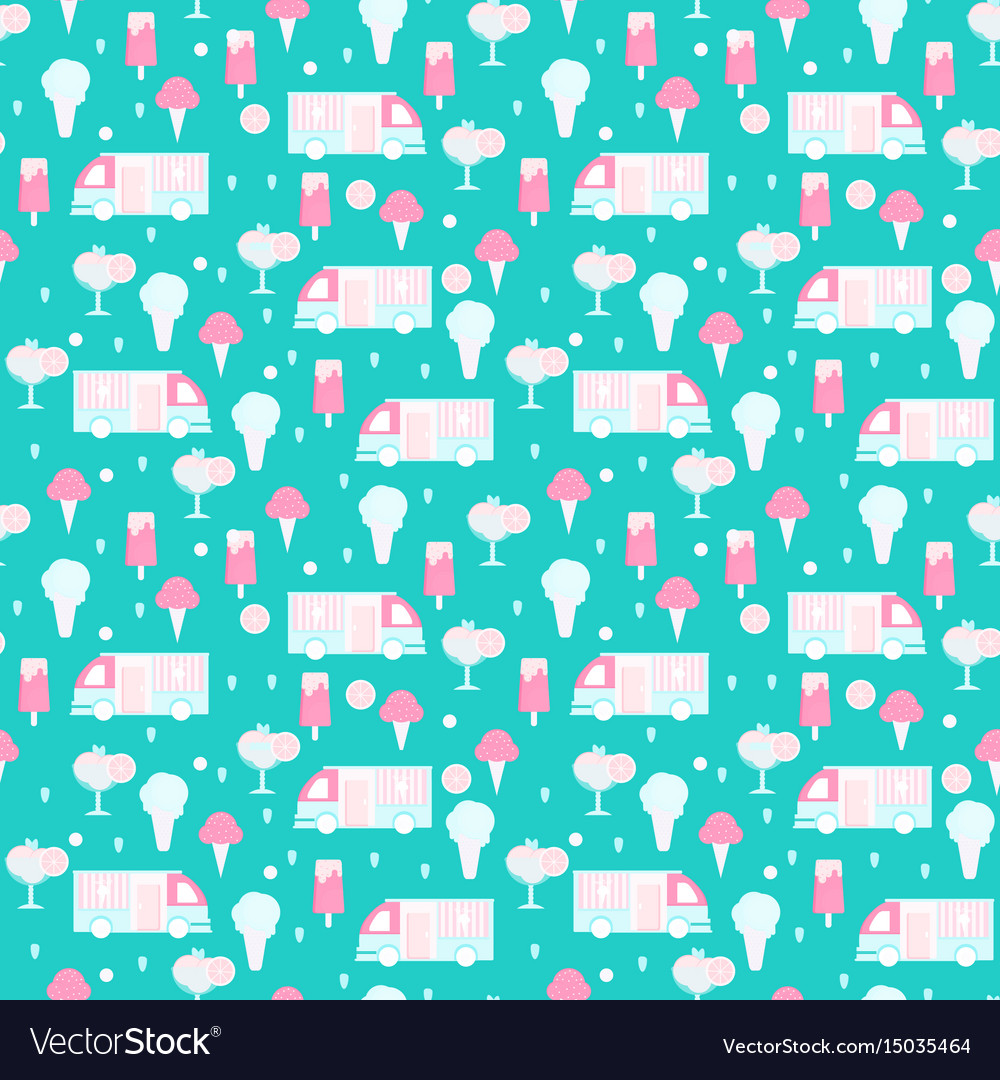 Ice cream seamless pattern in flat style