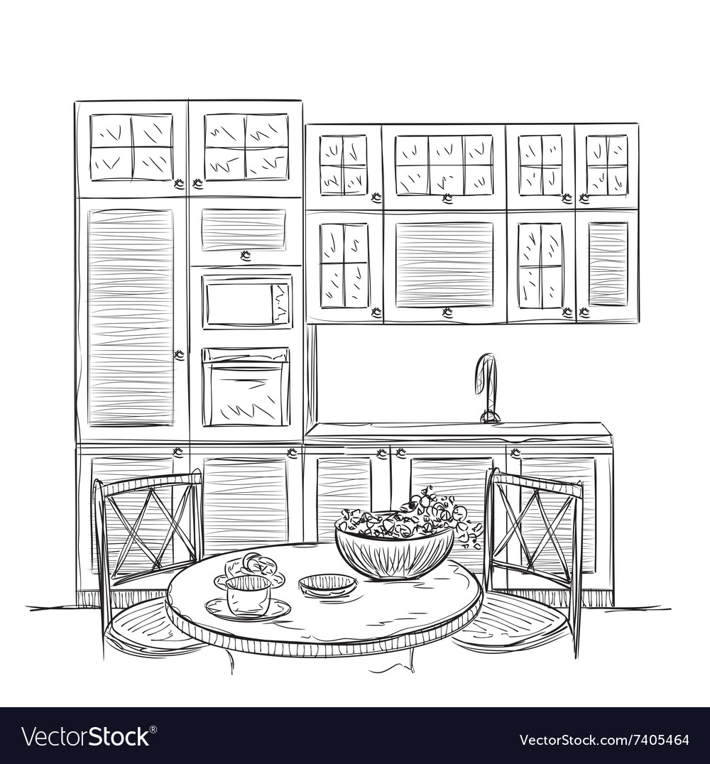 Kitchen Interior Sketch With Dinner Table Vector Image