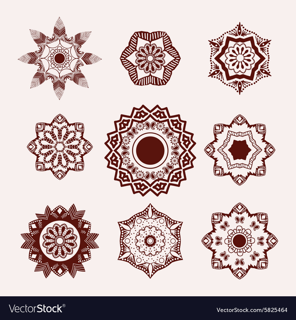 Mehndi flowers tattoo doodle Henna Tattoo Design vector image