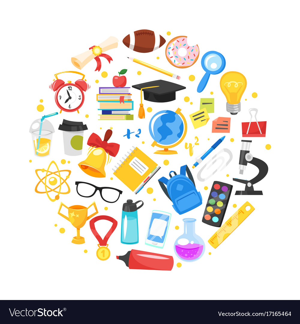 Round composition of school symbols