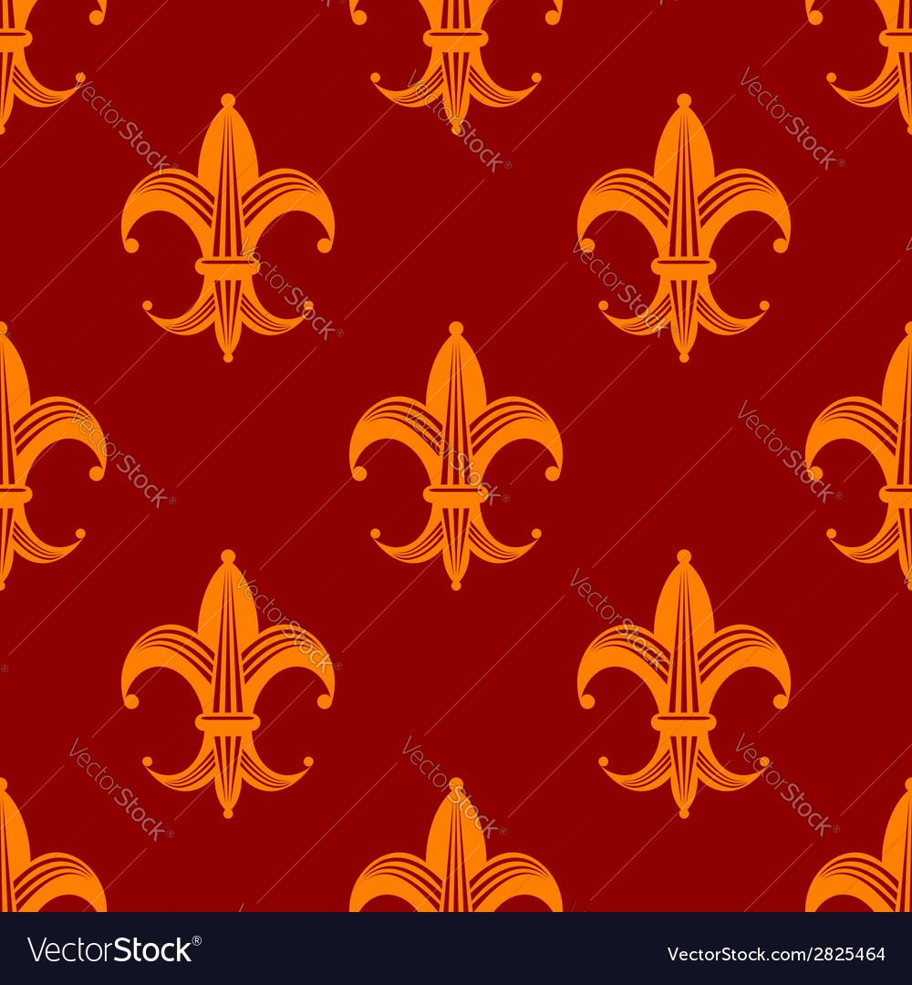 Seamless Fleur De Lys Royal Orange Pattern Vector Image
