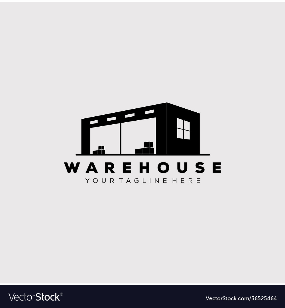 Silhouette warehouse factory industry logo design