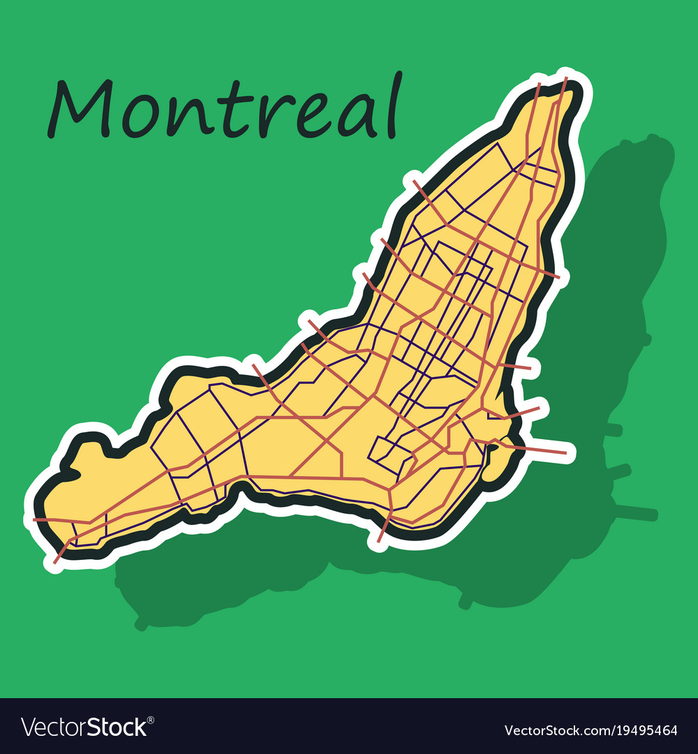 Canada Map Montreal.Sticker Map Of Montreal Is A City Of Canada With Vector Image