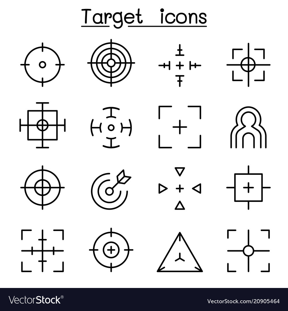Target aim icon set in thin line style