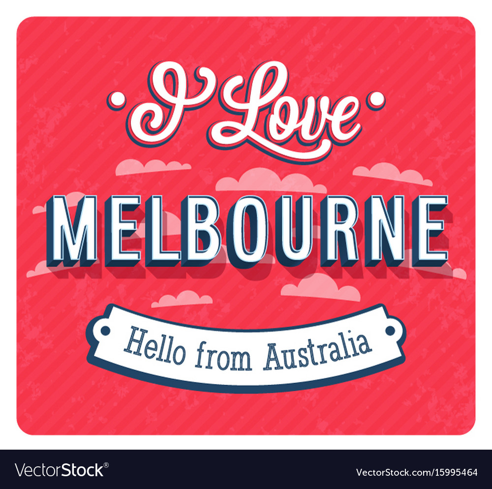 Vintage Greeting Card From Melbourne Royalty Free Vector