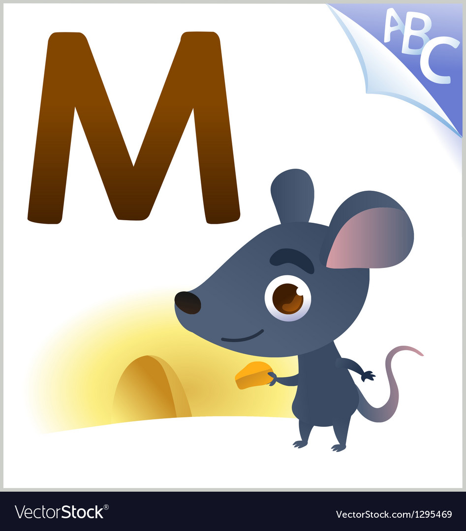 Animal alphabet for the kids M for the Mouse