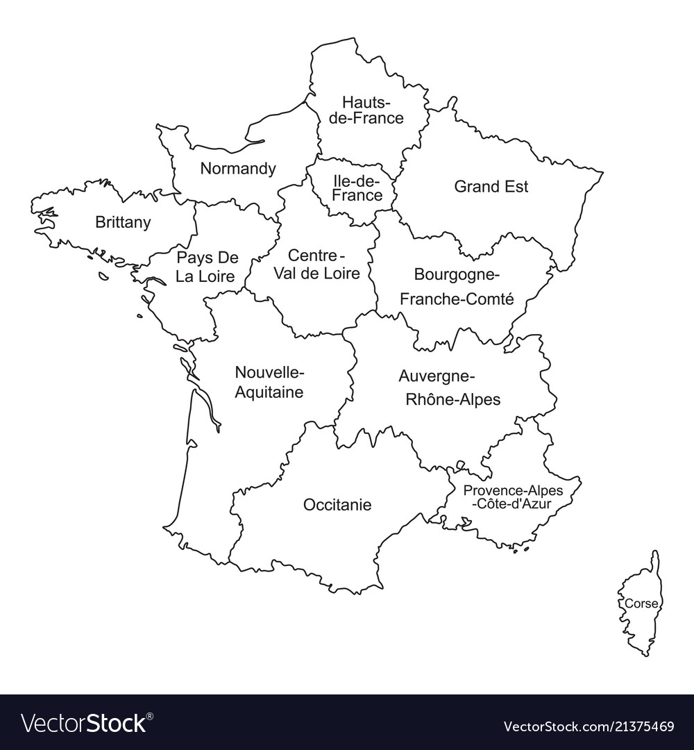 Political Outline Map Of France.Black Outlines Map Of France With Names On White Vector Image