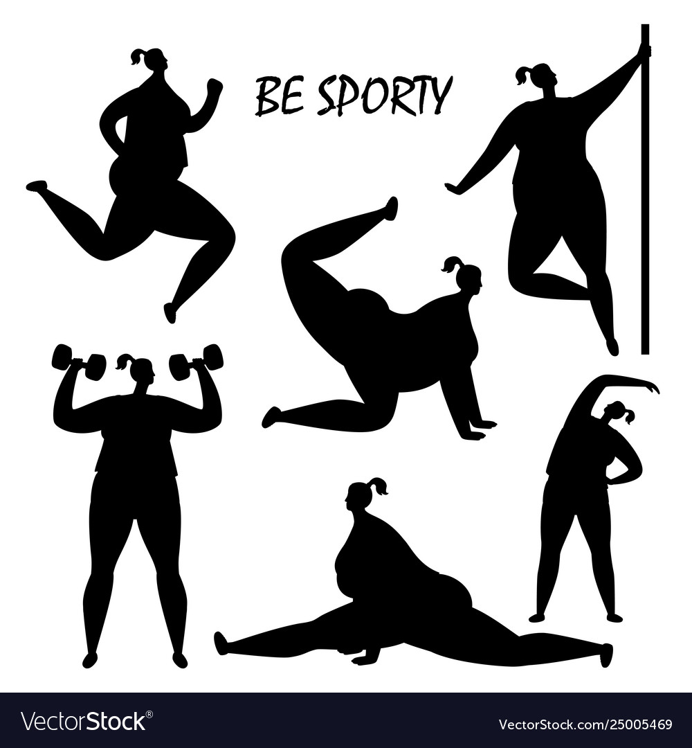 Black women training silhouettes isolated
