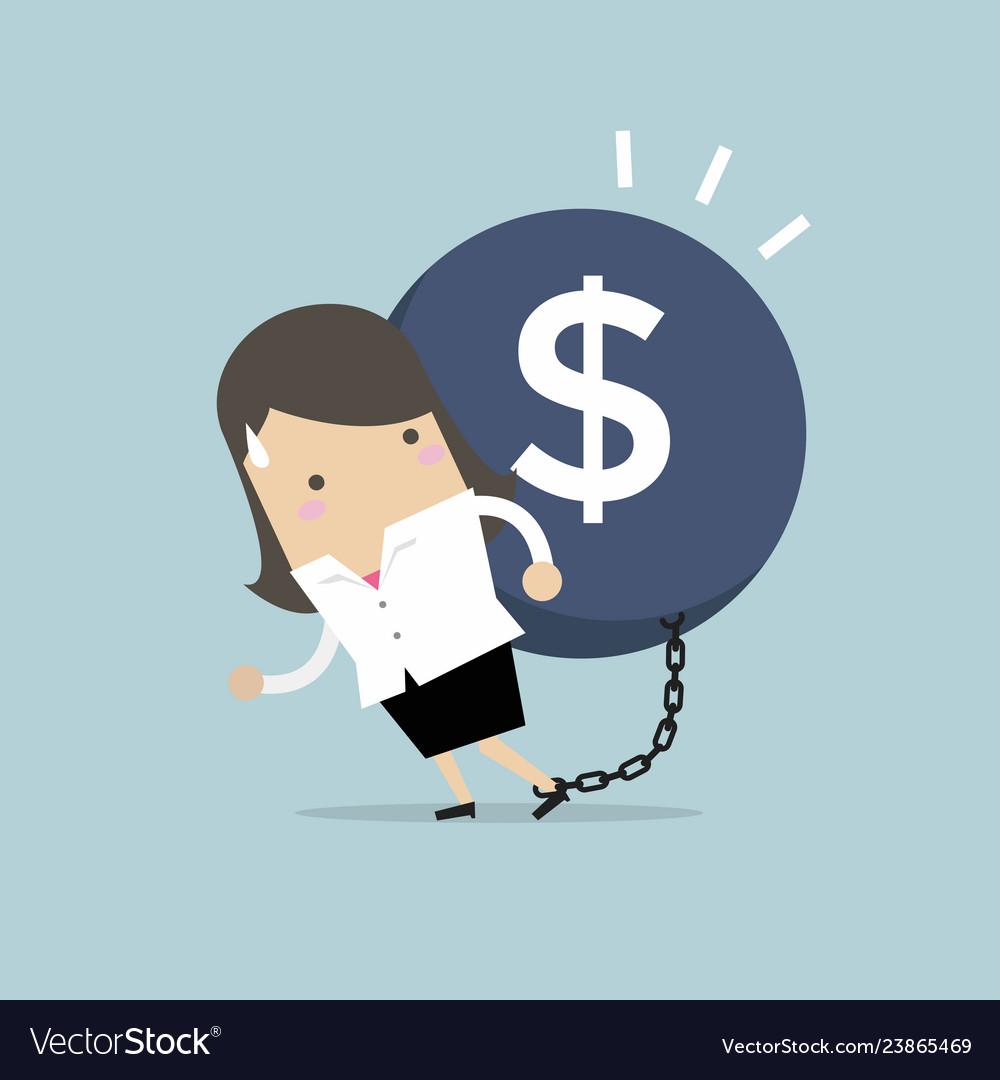 Businesswoman carry debt financial concept