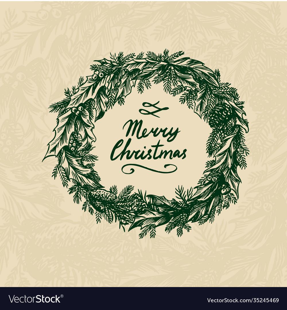 Christmas wreath new year decoration coniferous