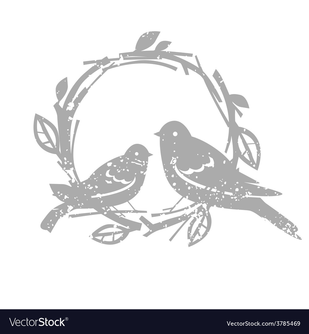 Design with silver birds vector image