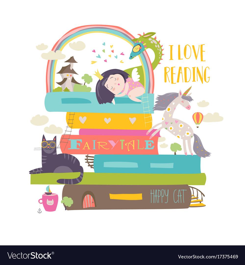 Fairytale concept with bookunicorndragon