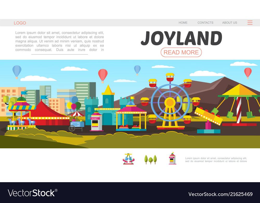 Flat amusement park landing page concept