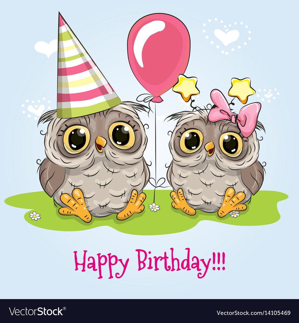 Открытка с днем рождения сова