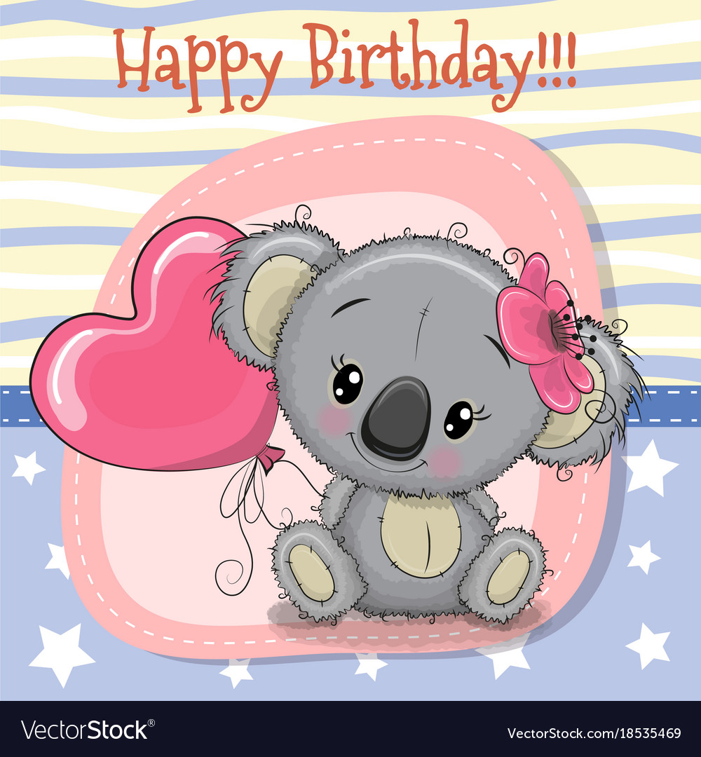 Greeting Card Koala Girl With Balloon Royalty Free Vector
