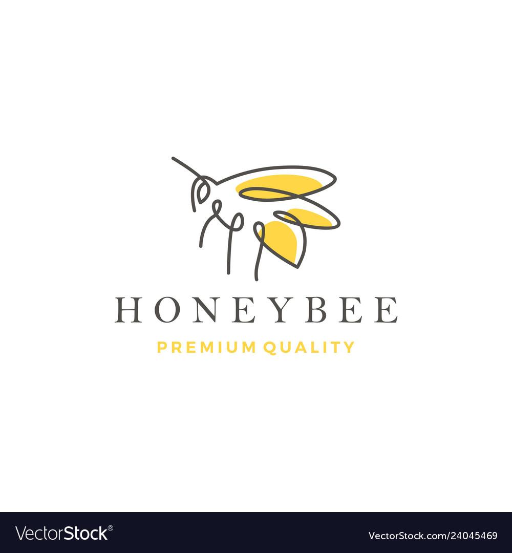 Honey bee logo line outline monoline icon