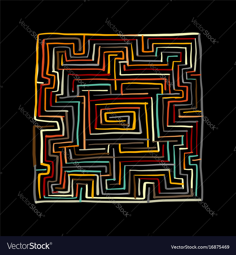 Labyrinth square sketch for your design