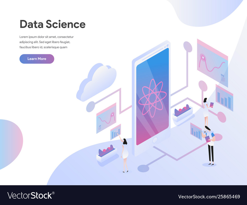 Landing page template data science isometric