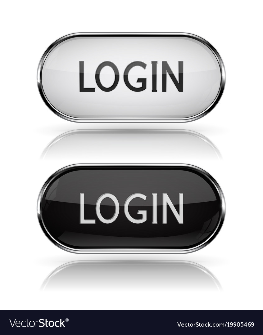 Login black and white oval buttons with metal vector image