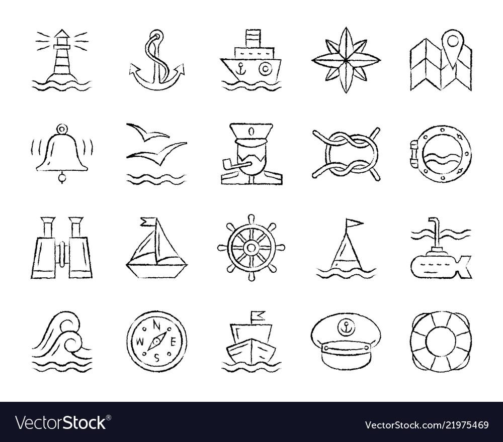 Marine charcoal draw line icons set