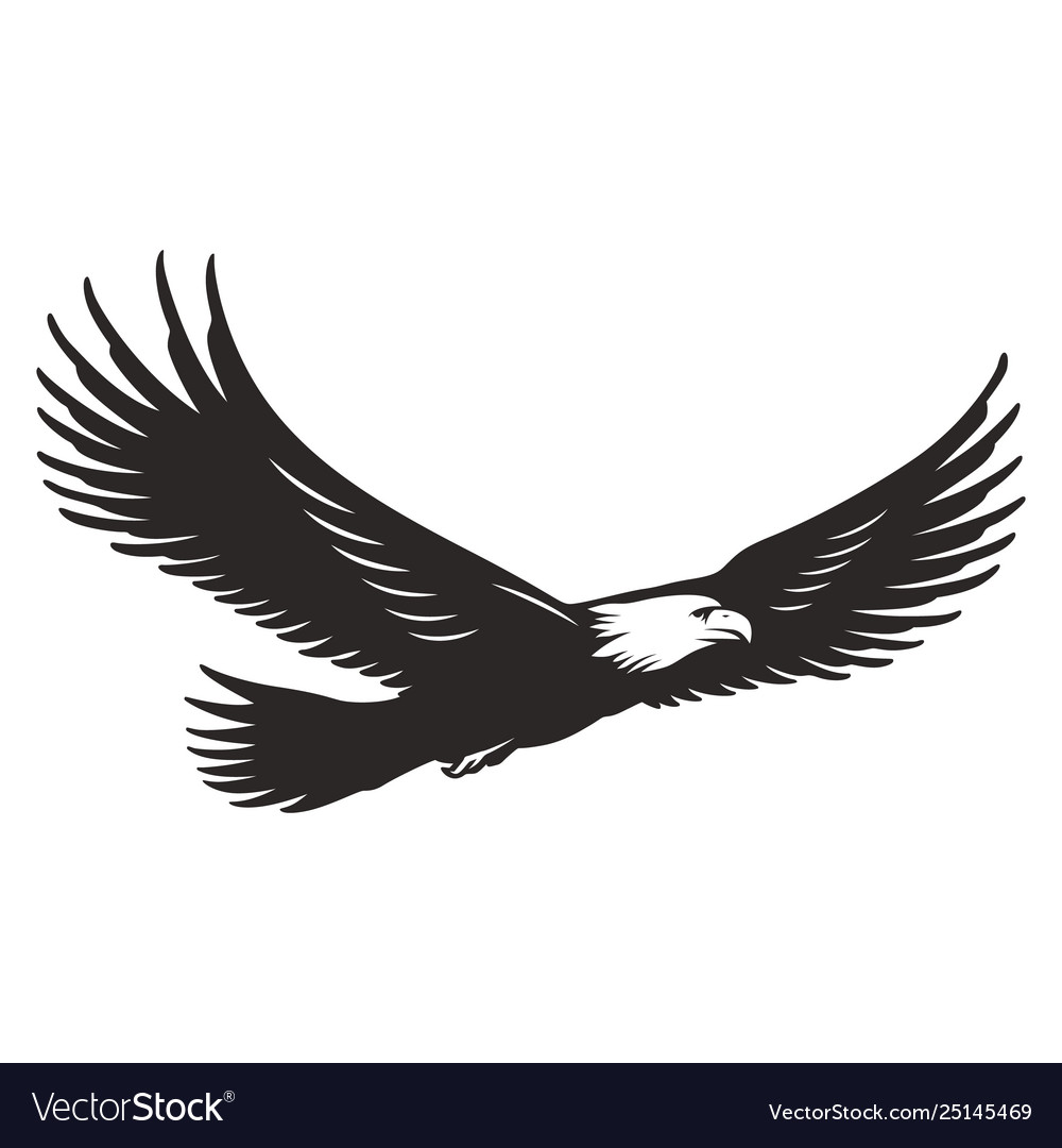 Monochrome flying eagle template
